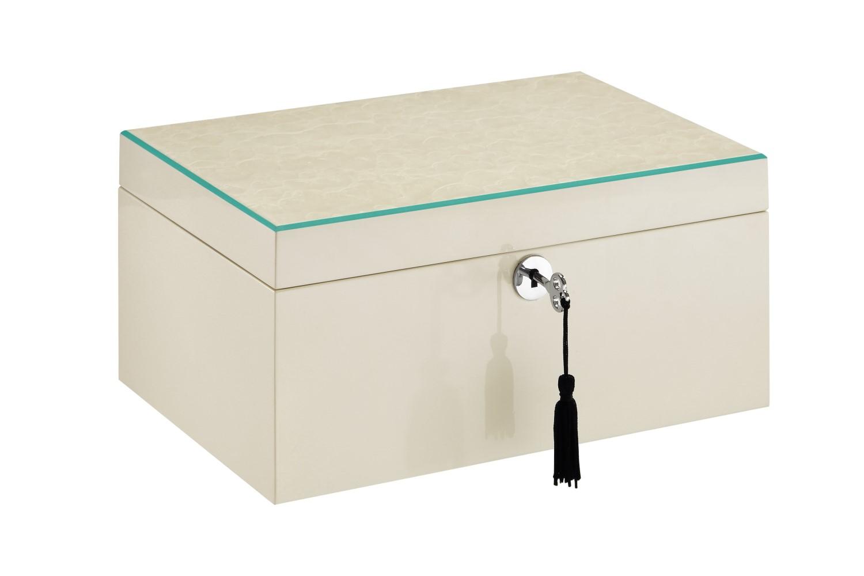 Wholeway Design Sparkle White Jewelry BoxTiffany Blue Trim